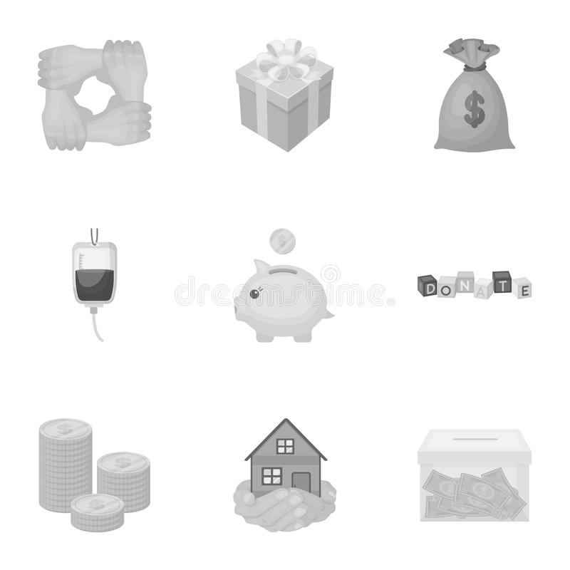 Charitable Foundation. Icons on helping people and donation.Charity and donation icon in set collection on monochrome. Style vector symbol stock web stock illustration