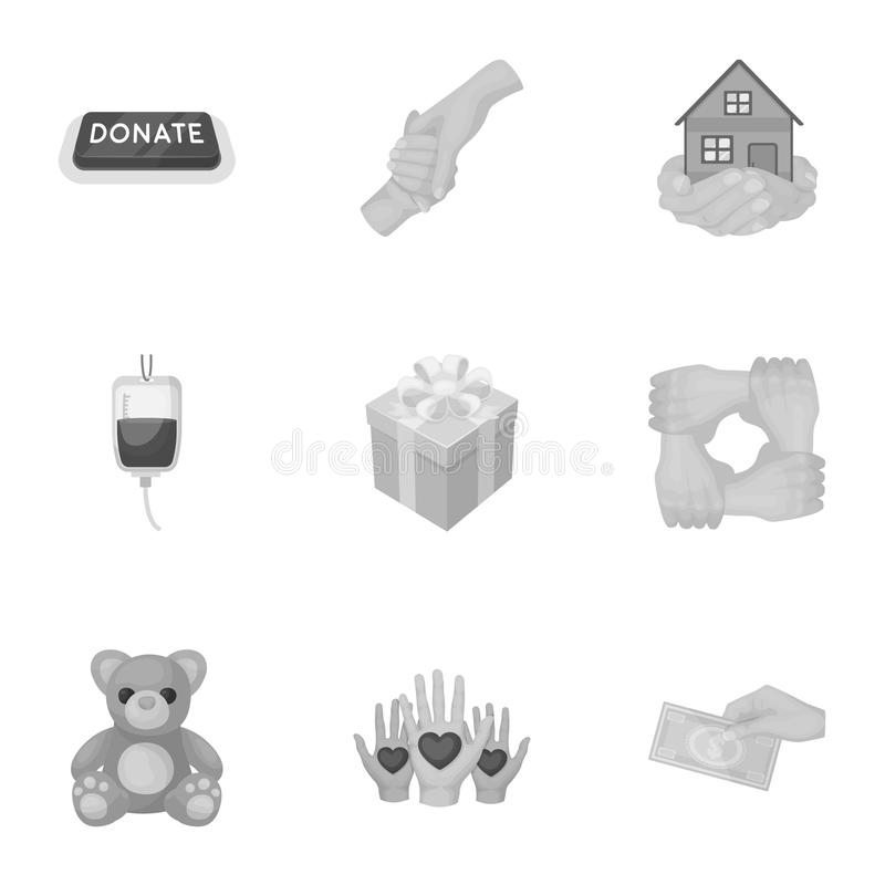 Charitable Foundation. Icons on helping people and donation.Charity and donation icon in set collection on monochrome. Vector symbol stock illustration royalty free illustration