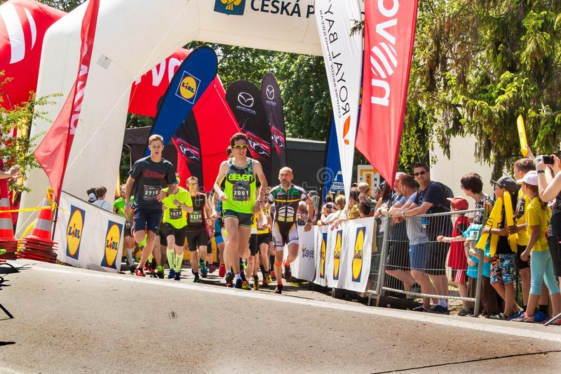 Charitable run `RunTour-Brno` in the dam area. Run to support the Foundation for the Blind. royalty free stock photos