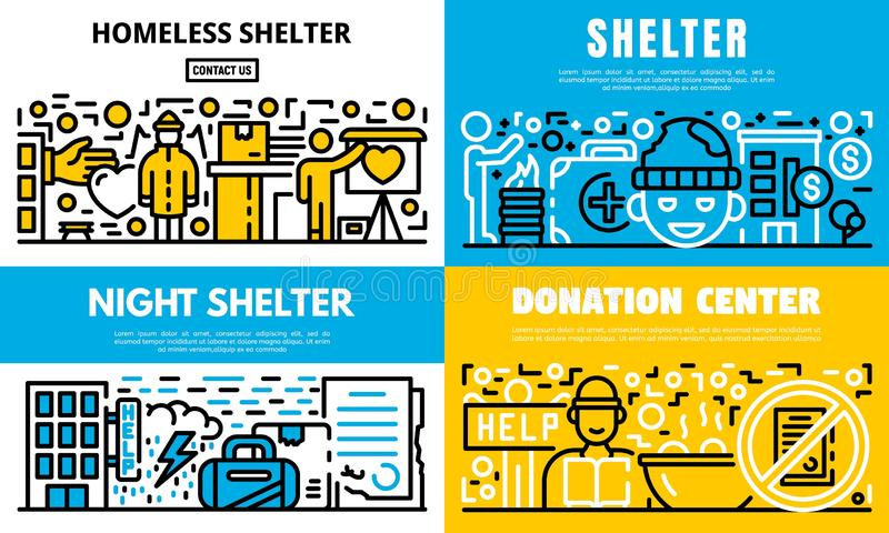 Charity banner set, outline style stock illustration