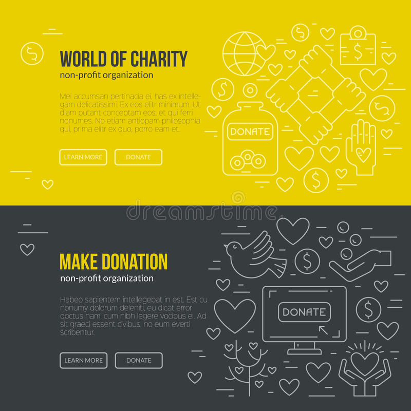 Charity Banner. Banner template with charity and donation icons and symbols. Line style vector illustration. Charity work hro image or web site design for non stock illustration