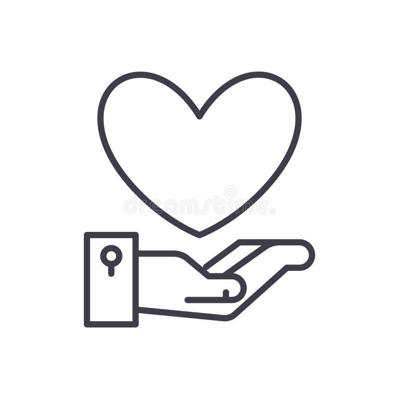 Charity black icon concept. Charity flat vector symbol, sign, illustration. vector illustration