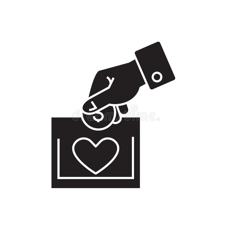 Charity black vector concept icon. Charity flat illustration, sign stock illustration