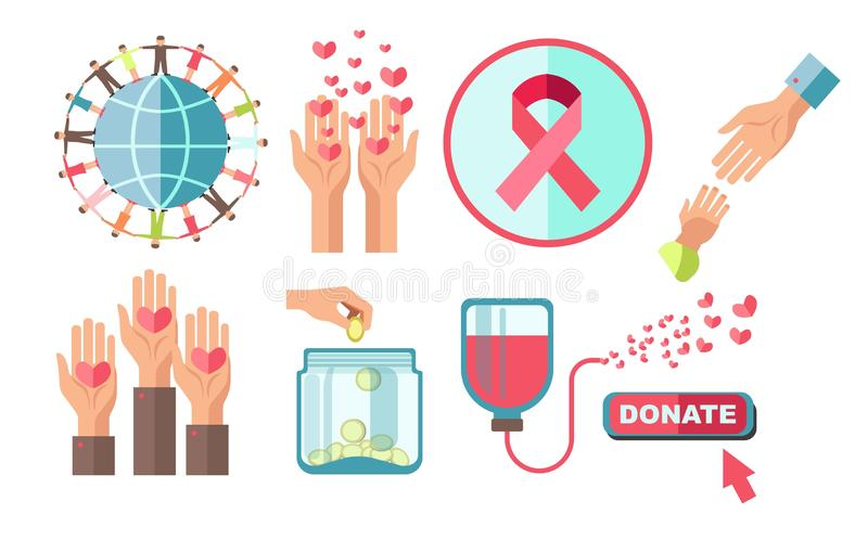 Charity and blood donation medical and financial aid isolated icons vector illustration