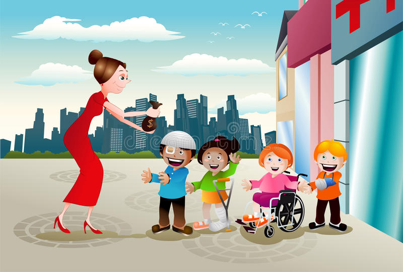 Charity for children health. Illustration of a lady give money to needed injury kid infront hospital on city background