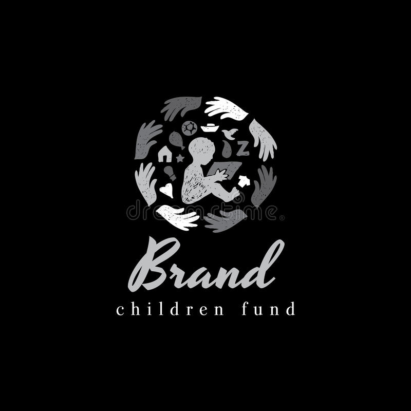 Charity children vector logo design royalty free illustration