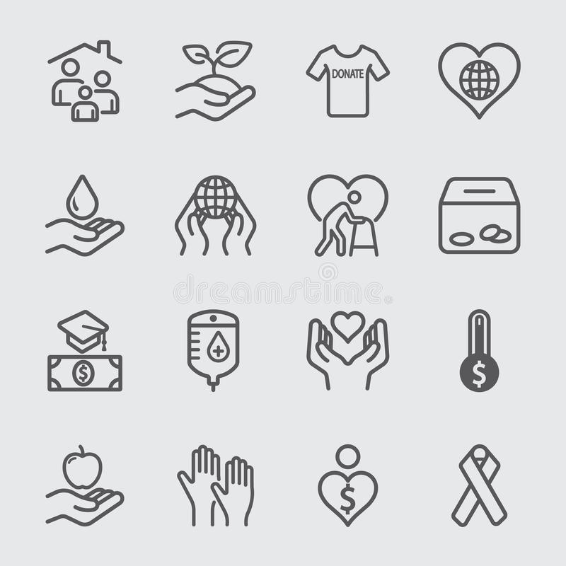 Charity and Donate line icon 2. Charity and Donate line icon set 2 royalty free illustration