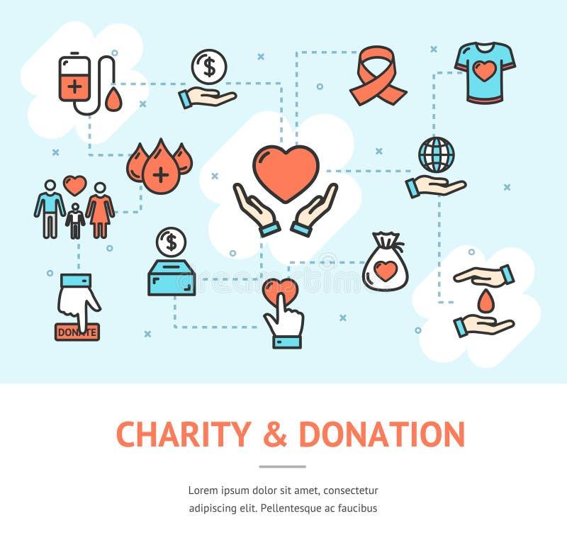 Charity Donation Banner Horizontal. Vector vector illustration