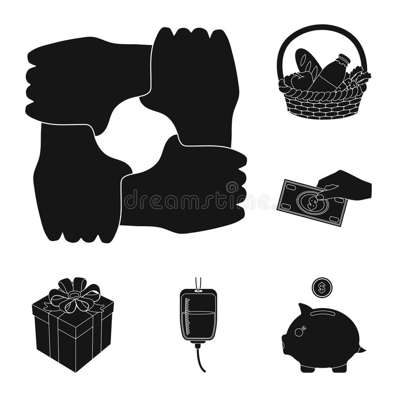 Charity and donation black icons in set collection for design. Material aid vector symbol stock web illustration. vector illustration