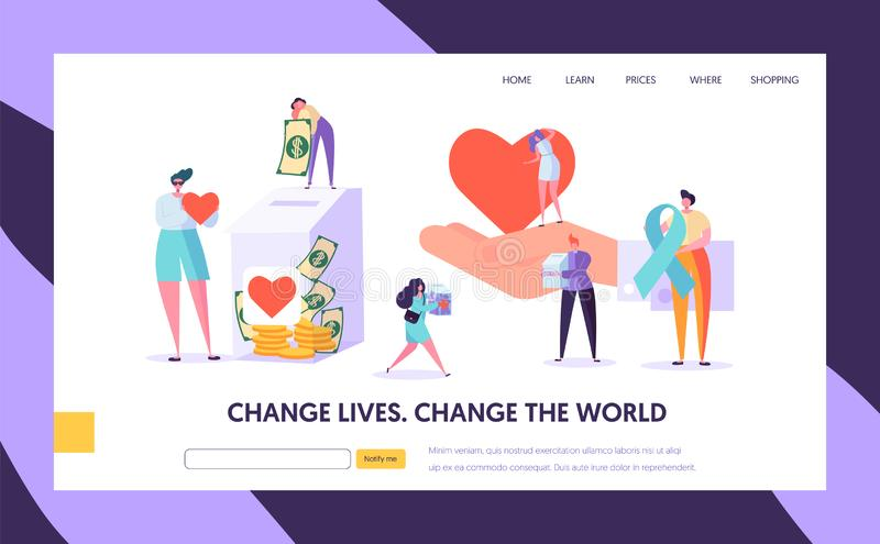 Charity Donation Change the World Landing Page. Give Hope for Needing Help Character and Save Life. Donate Healthy stock illustration