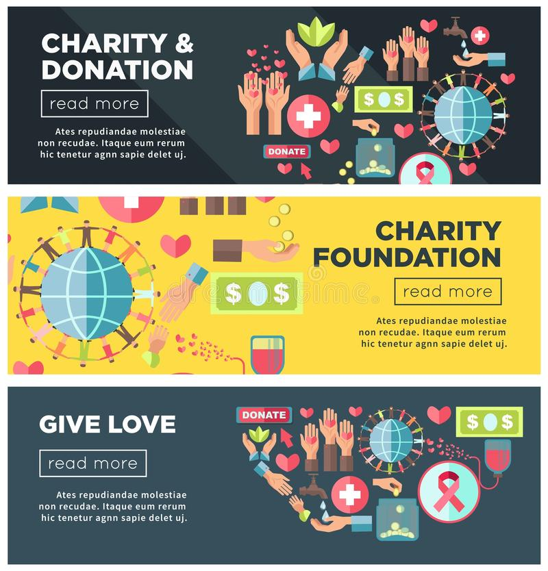 Charity and donation foundation promo Internet posters templates royalty free illustration