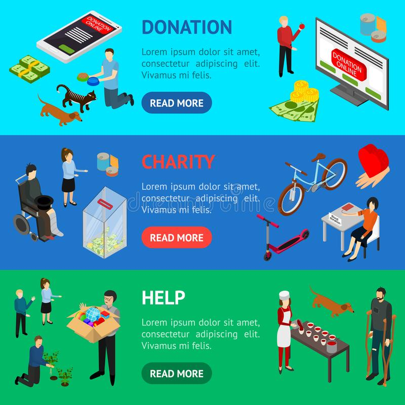 Charity Donation Funding Banner Horizontal Set 3d Isometric View. Vector stock illustration