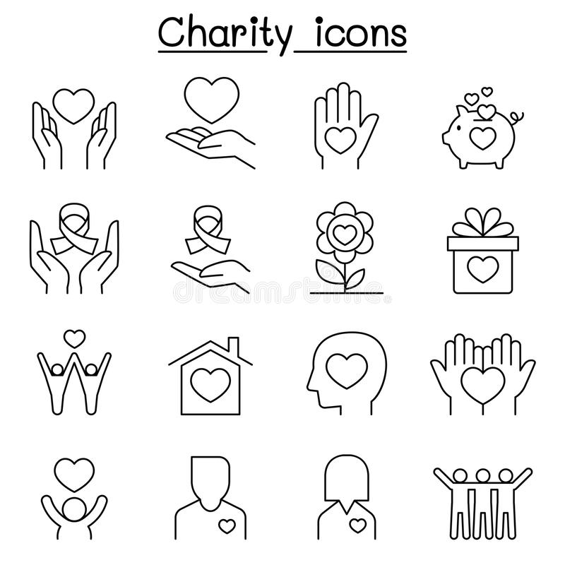 Charity & Donation icon set in thin line style stock illustration