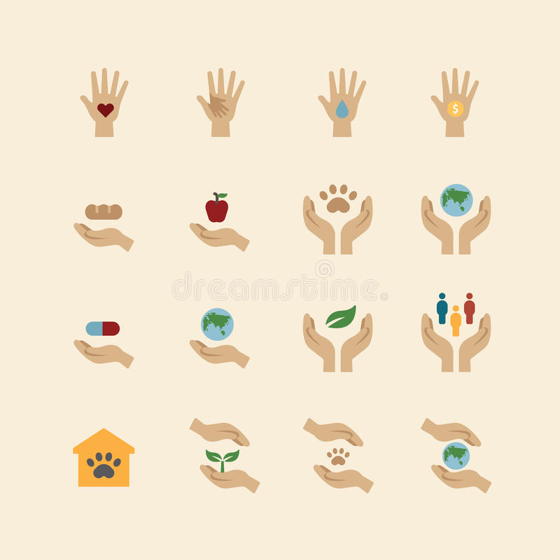 Charity and donation icons flat line design vector.  stock illustration