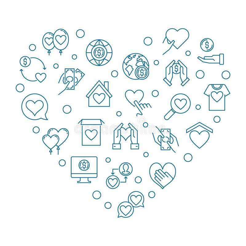 Charity and Donation icons in heart shape - vector illustration royalty free illustration