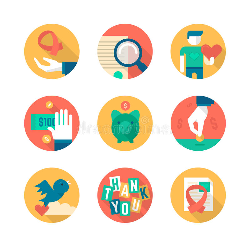 Charity and Donation. Part 2. Flat icons collection of charity in business, giving help to non-profit, donating and fund raising stock illustration