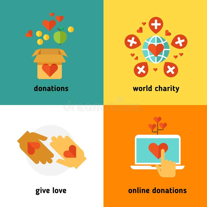 Charity and donation, social help services, volunteer work, non profit organization flat vector concepts. Online donations and world charity, giving donation vector illustration