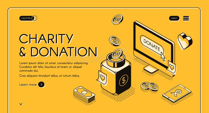 Charity donation vector isometric line halftone royalty free illustration
