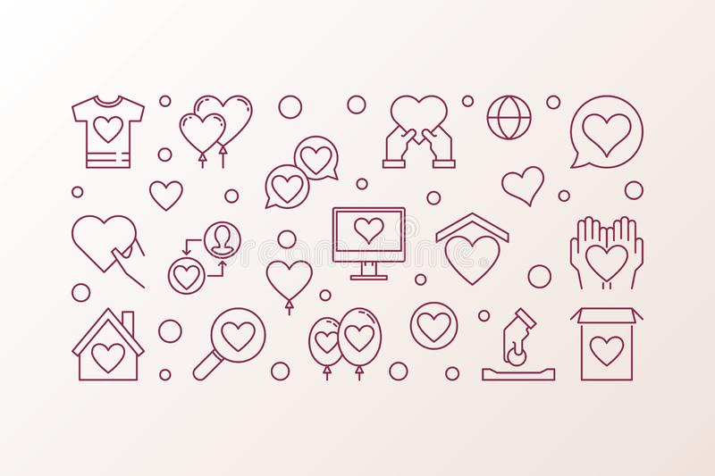 Charity and Donation vector outline illustration vector illustration