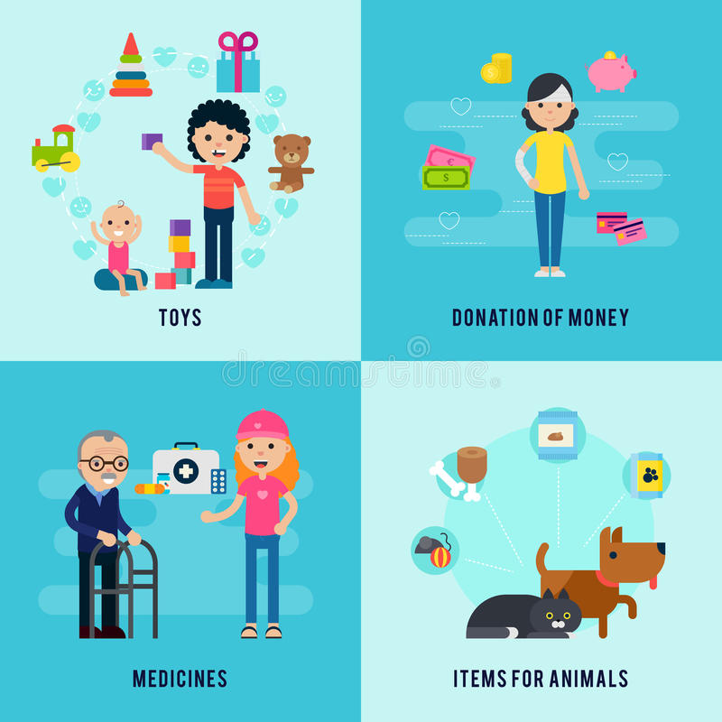 Charity Flat Concept stock illustration