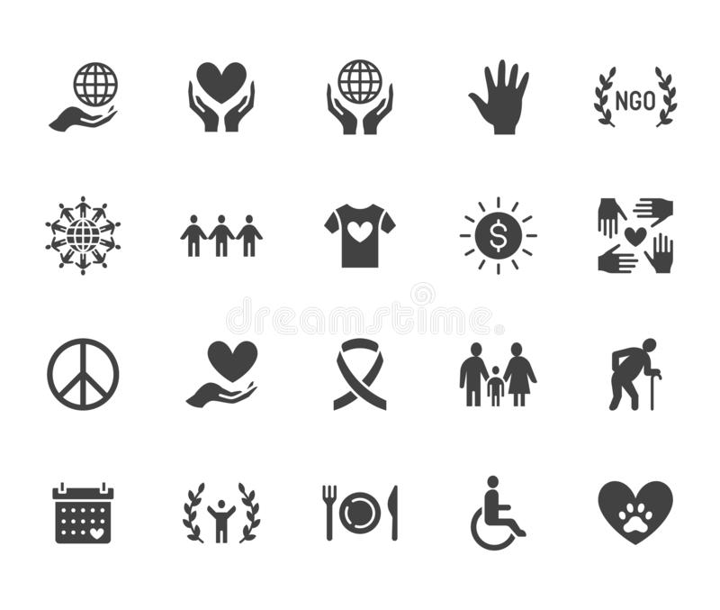 Charity flat glyph icons set. Donation, nonprofit organization, NGO, giving help vector illustrations. Signs for royalty free illustration