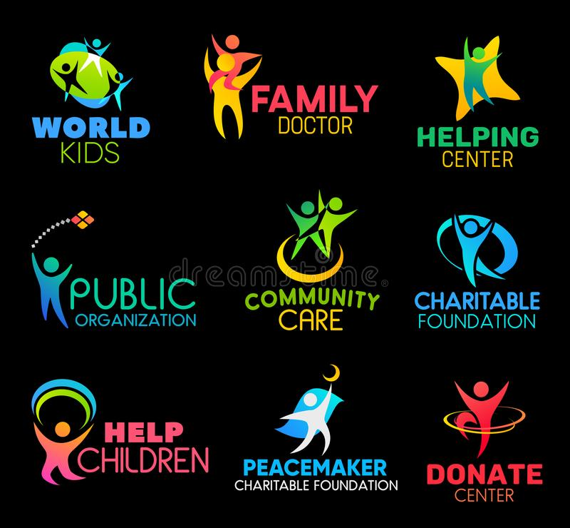 Charity foundation icons with peoples and hands royalty free illustration
