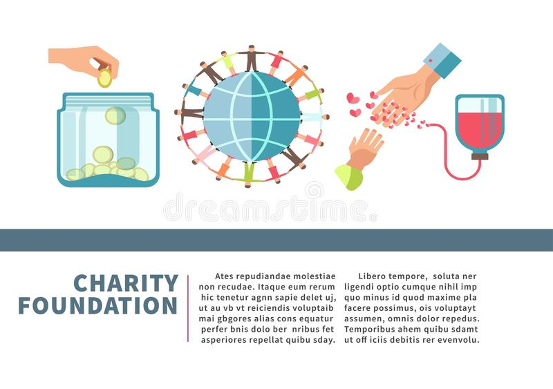 Charity foundation poster for blood and money donation fund vector flat design. Charity and donation fund poster for blood donor or human help foundation for vector illustration