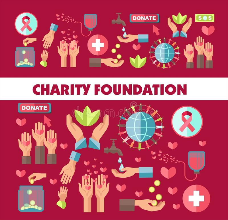 Charity foundation vector social donation poster. Charity foundation poster for social donation action. Vector icons for blood donation or money and helping help vector illustration