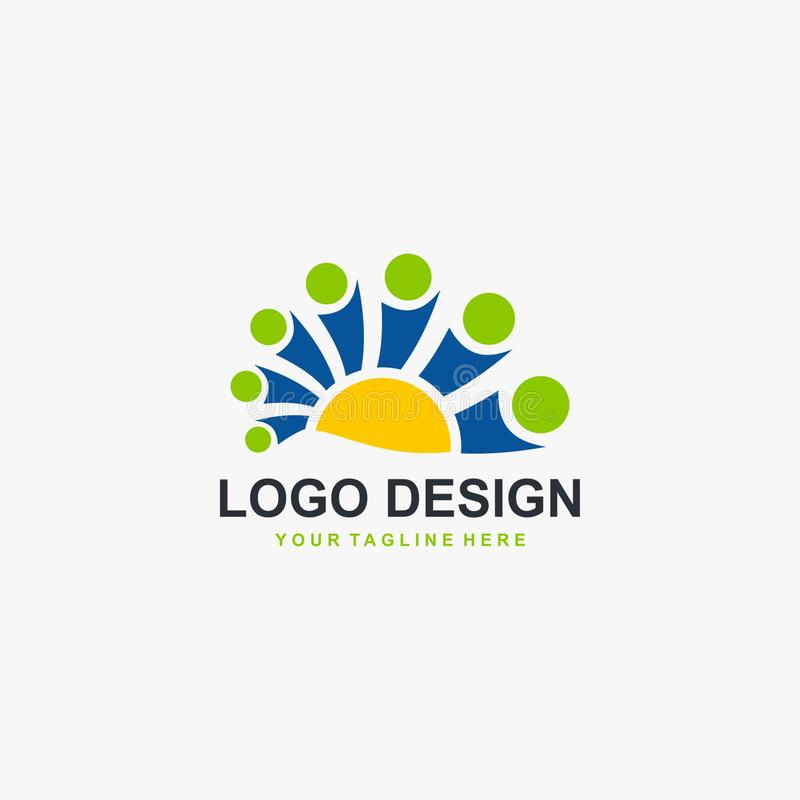 Charity grup logo design vector. Social human logo design. People icon design. stock illustration