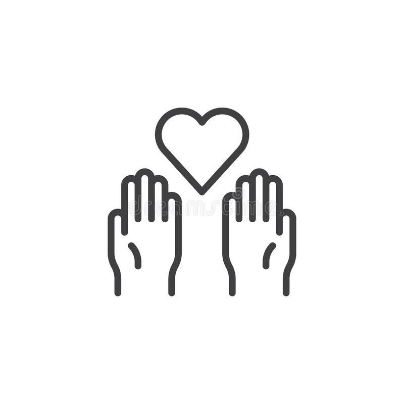 Charity heart on the palms outline icon royalty free illustration