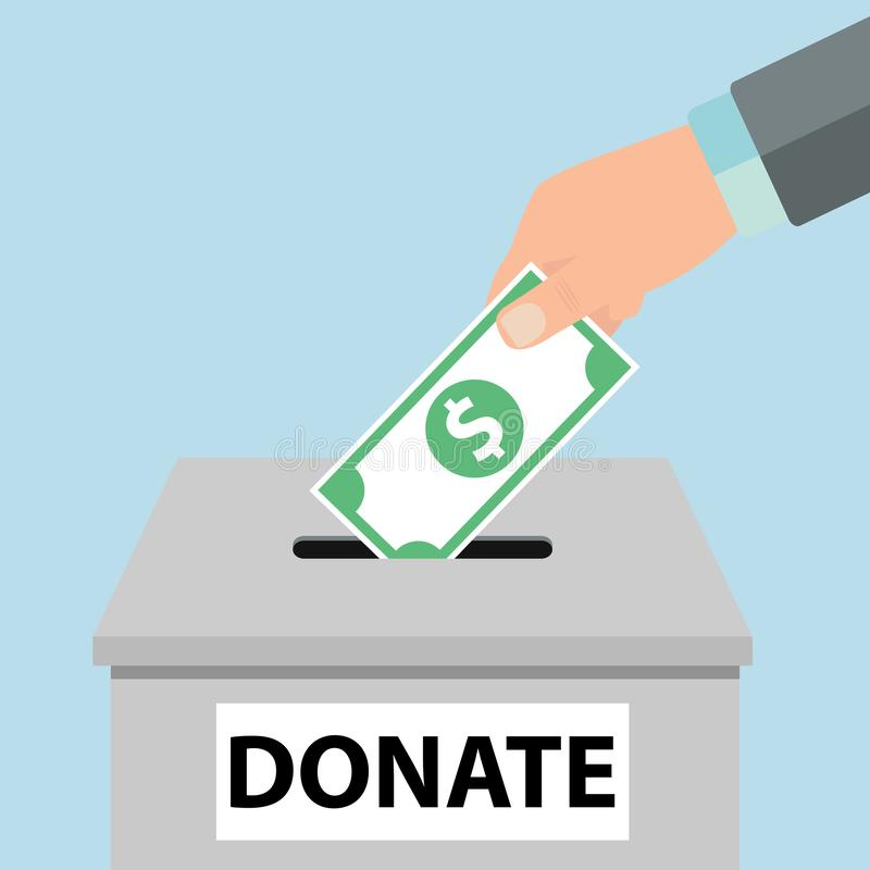 Charity icon concept. Hand putting money coin in the donation box - Vector stock illustration