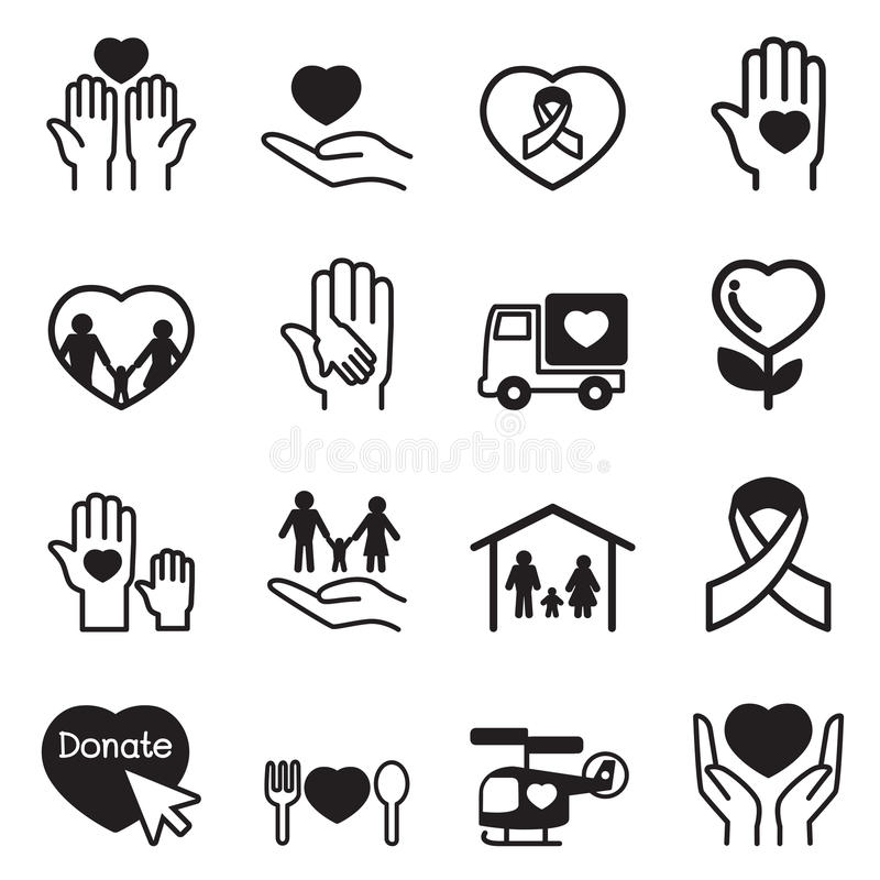 Charity icons Set royalty free illustration