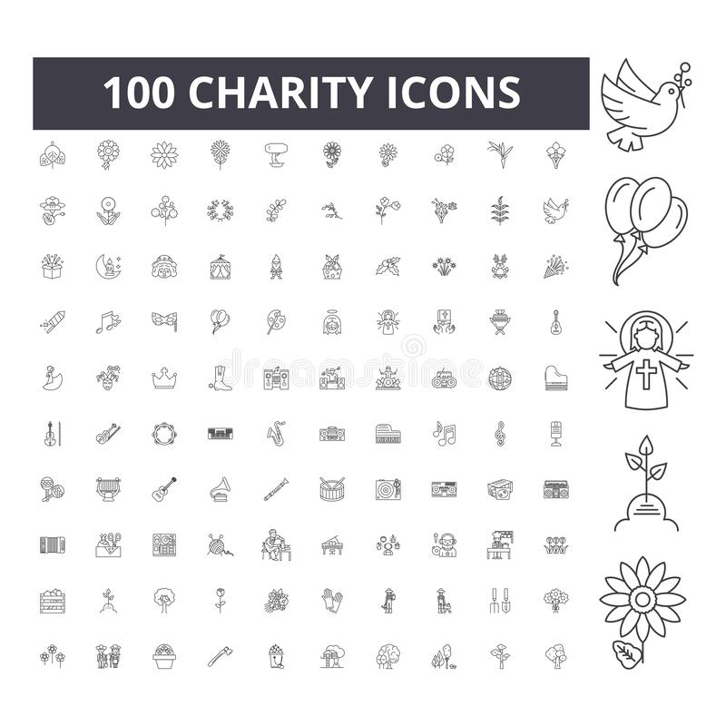 Charity line icons, signs, vector set, outline illustration concept royalty free illustration