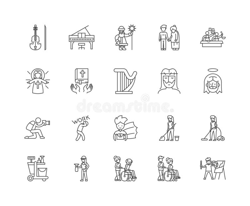 Charity line icons, signs, vector set, outline illustration concept stock illustration