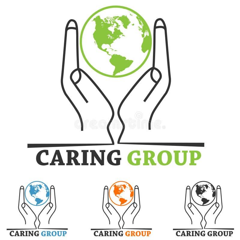 Charity Logo. World map ,hand,people symbol royalty free illustration