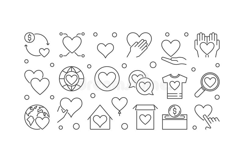 Charity and philanthropy vector outline horizontal banner stock illustration
