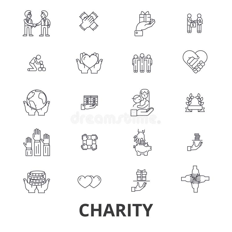 Charity related icons stock illustration