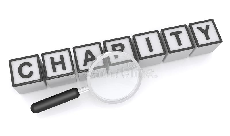 Charity. Text 'charity' inscribed in uppercase black letters on small white cubes with a hand magnifier place alongside. Concept of looking for charity perhaps royalty free illustration
