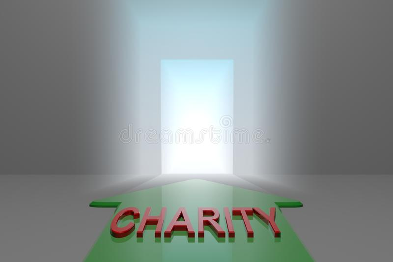 Charity to the open gate. Green arrow with charity word front of the open gate , 3d rendered royalty free illustration