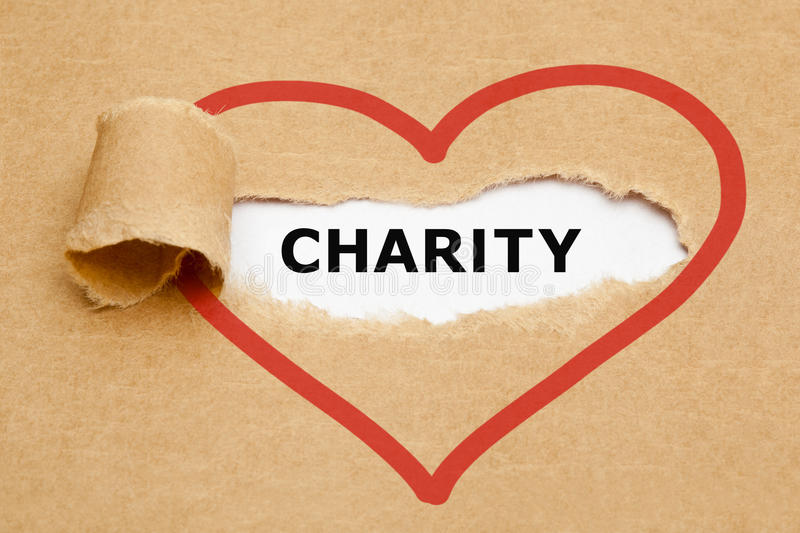 Charity Torn Paper stock photo