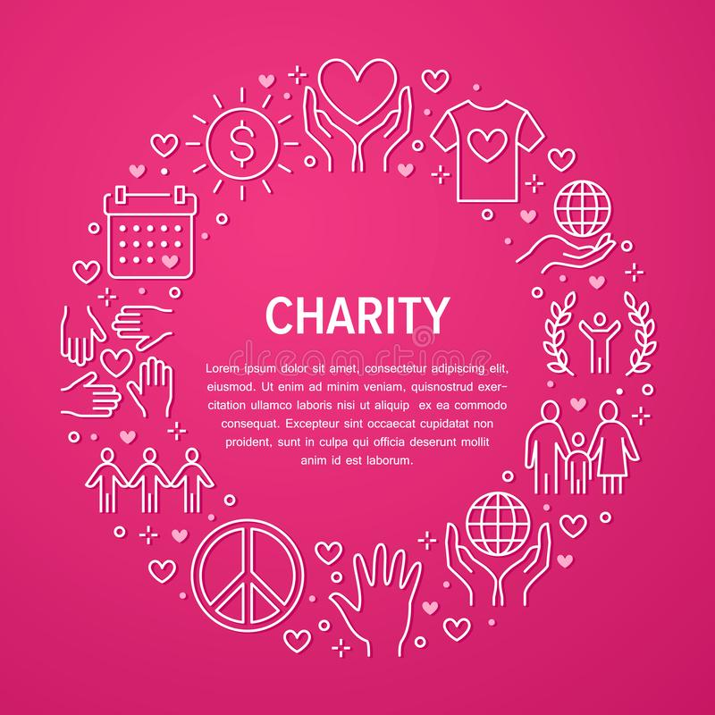 Charity Vector Circle Banner With Flat Line Icons Donation Nonprofit Organization Ngo Giving Help Illustration Stock Vector Illustration Of Human Donate 155093471