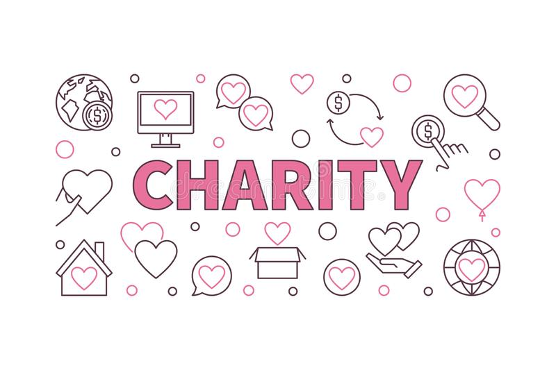 Charity vector concept horizontal illustration or banner royalty free illustration