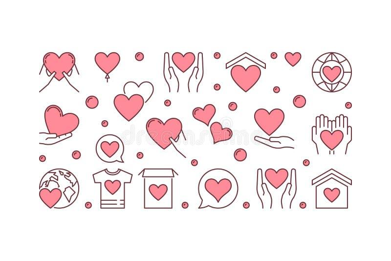 Charity vector creative horizontal banner or illustration stock illustration