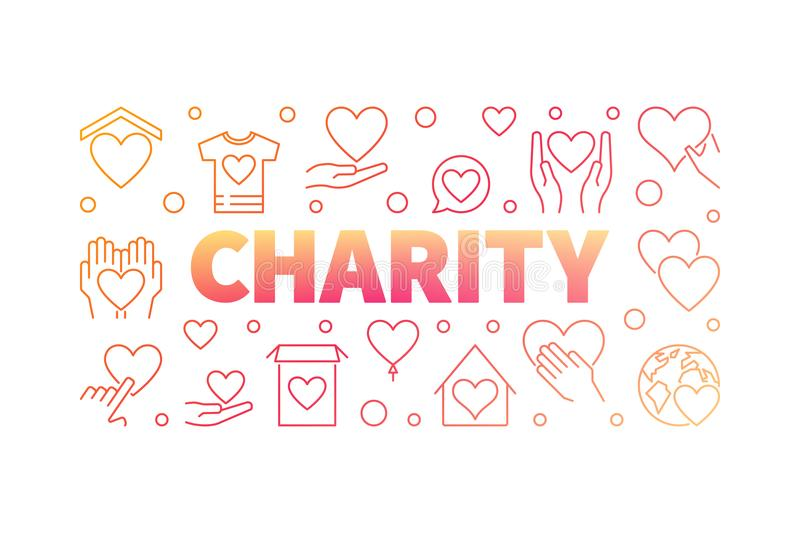 Charity vector red creative horizontal line banner stock illustration