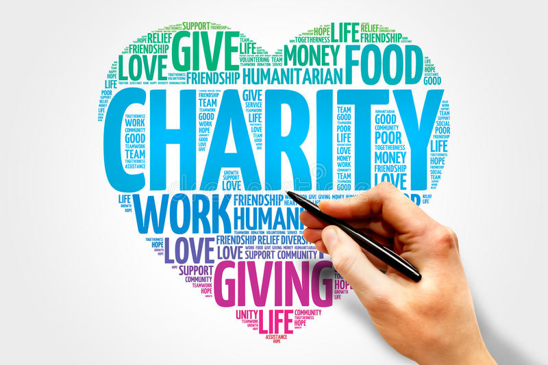Charity. Word cloud heart concept stock photo