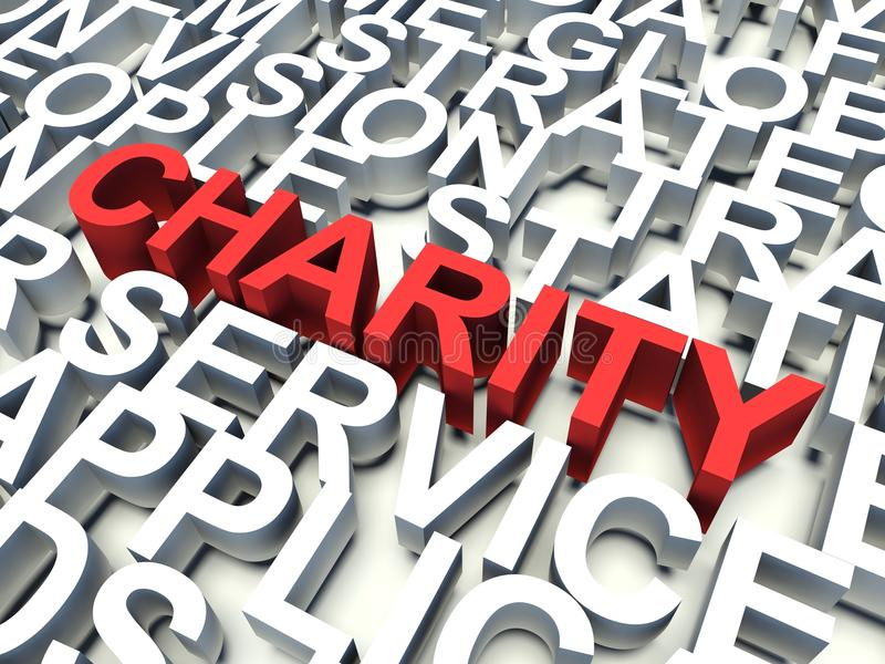 Charity. Word Charity in red, salient among other related keywords concept in white. 3d render illustration vector illustration