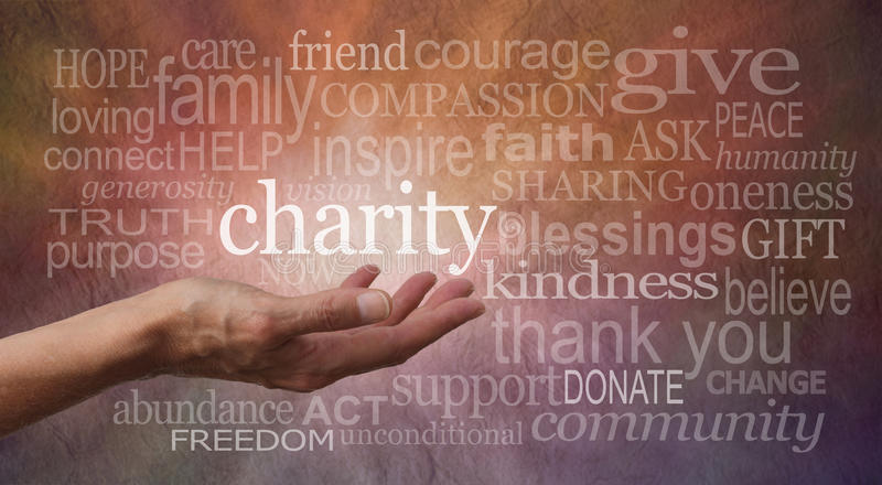 Charity Word Wall Banner. Woman's outstretched open hand with the word 'charity' in white above palm, surrounded by charity related words on a rustic orange and