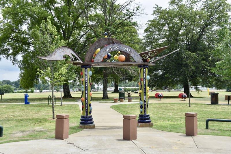 Charjean Park Entrance, Memphis, TN stock images