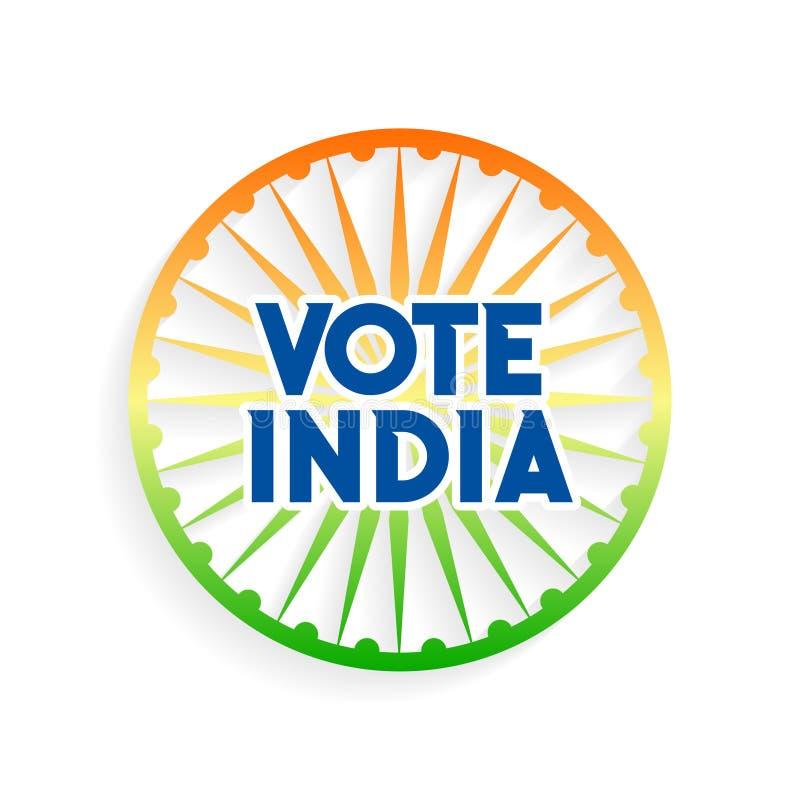 Charkra de la India del voto en colores indios de la bandera stock de ilustración