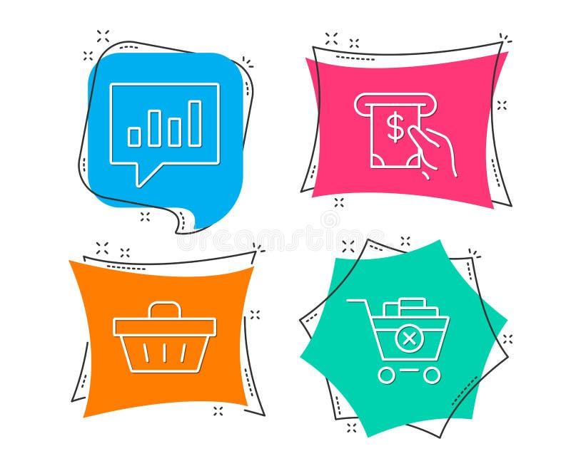 Charla analítica, servicio de la atmósfera e iconos de la cesta de compras Quite la muestra de la compra ilustración del vector